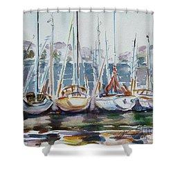 4 Boats Shower Curtain by Xueling Zou