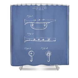 Bugle Call Instrument Patent Drawing From 1939 - Light Blue Shower Curtain by Aged Pixel