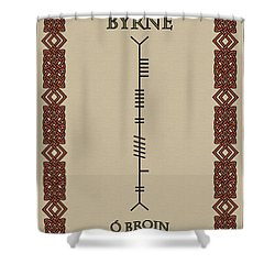 Shower Curtain featuring the digital art Byrne Written In Ogham by Ireland Calling