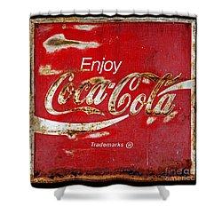 Coca Cola Vintage Rusty Sign Black Border Shower Curtain
