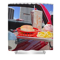 Drive In Shower Curtain by Rudy Umans