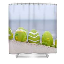 Easter Decorated Eggs On Sand Shower Curtain by Michal Bednarek