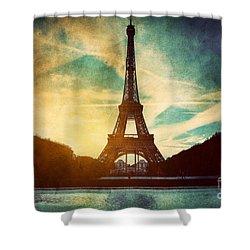 Eiffel Tower In Paris Fance In Retro Style Shower Curtain by Michal Bednarek