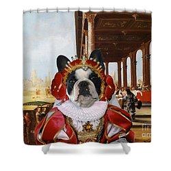 French Bulldog Art Canvas Print Shower Curtain