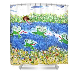 4 Frogs And A Bear Shower Curtain