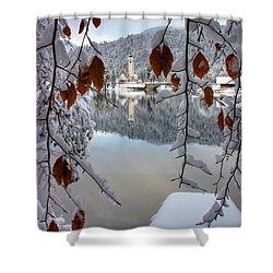Lake Bohinj In Winter Shower Curtain by Ian Middleton