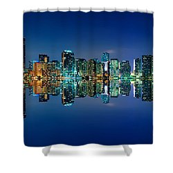 Miami Skyline At Night Shower Curtain by Carsten Reisinger