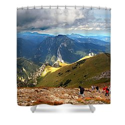 Mountains Stormy Landscape Shower Curtain by Michal Bednarek