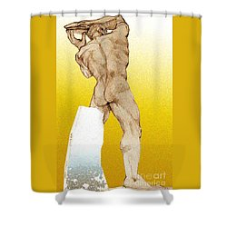 Shower Curtain featuring the drawing Olympic Athletics Discus Throw by Greta Corens