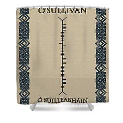 Shower Curtain featuring the digital art O'sullivan Written In Ogham by Ireland Calling