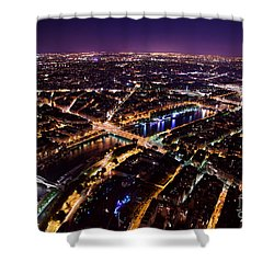Paris Panorama France At Night Shower Curtain by Michal Bednarek