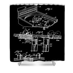Pinball Machine Patent 1939 - Black Shower Curtain by Stephen Younts