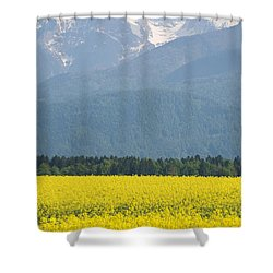 rapeseed field in Brnik with Kamnik Alps in the background Shower Curtain