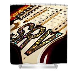 Replica Stevie Ray Vaughn Electric Guitar Artistic Shower Curtain by Jani Bryson