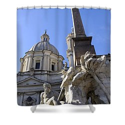 4 Rivers Fountain By Bernini In Rome Shower Curtain