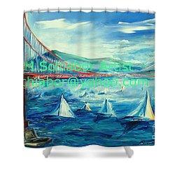 San Francisco Golden Gate Bridge Shower Curtain by Eric  Schiabor