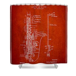 Saxophone Patent Drawing From 1928 Shower Curtain by Aged Pixel