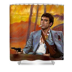 Shower Curtain featuring the drawing Scarface by Viola El