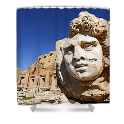 Sculpted Medusa Head At The Forum Of Severus At Leptis Magna In Libya Shower Curtain
