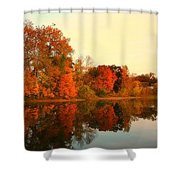 Shady Oak Lake  Shower Curtain by Amanda Stadther