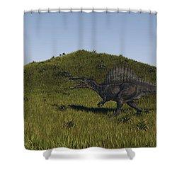 Spinosaurus Walking Across A Grassy Shower Curtain by Kostyantyn Ivanyshen