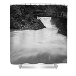 The Soteska Vintgar Gorge In Black And White Shower Curtain
