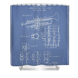 Trumpet Patent From 1939 - Light Blue Shower Curtain by Aged Pixel