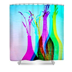 4 Vases In Colored Light Silhouettes Shower Curtain