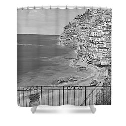 Shower Curtain featuring the painting Vista Su Positano by Loredana Messina