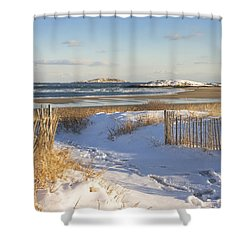 Winter At Popham Beach State Park Maine Shower Curtain by Keith Webber Jr