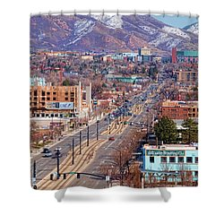Shower Curtain featuring the photograph 400 S Salt Lake City by Ely Arsha