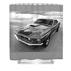 428 Cobra Jet Mach1 Ford Mustang 1969 In Black And White Shower Curtain