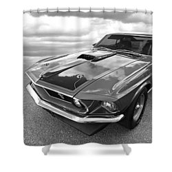 428 Cobra Jet Mach1 Ford Mustang 1969 In Black And White Shower Curtain by Gill Billington