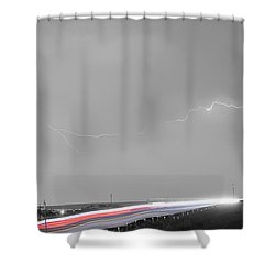 47 Street Lightning Storm Light Trails View Panorama Shower Curtain by James BO  Insogna