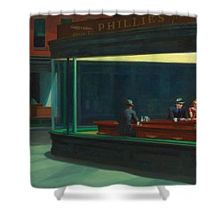 Shower Curtain featuring the painting Nighthawks by Edward Hopper