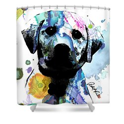 48x44 Labrador Puppy Dog Art- Huge Signed Art Abstract Paintings Modern Www.splashyartist.com Shower Curtain
