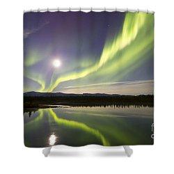 Aurora Borealis And Full Moon Shower Curtain by Joseph Bradley
