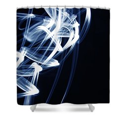 Blue Lines  Shower Curtain by Les Cunliffe