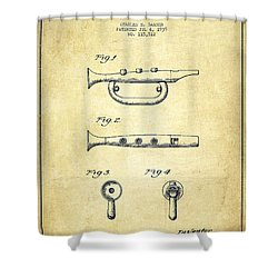 Bugle Call Instrument Patent Drawing From 1939 - Vintage Shower Curtain by Aged Pixel