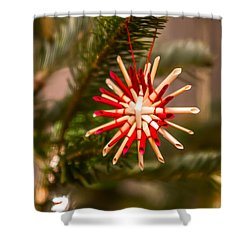 Shower Curtain featuring the photograph Christmas Tree Ornaments by Alex Grichenko
