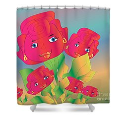 Family Shower Curtain by Iris Gelbart