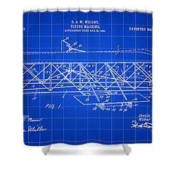 Flying Machine Patent 1903 - Blue Shower Curtain