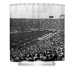 High Angle View Of A Football Stadium Shower Curtain by Panoramic Images