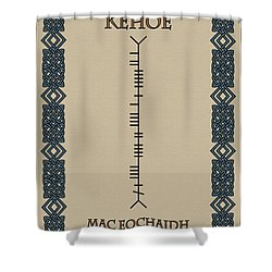 Shower Curtain featuring the digital art Kehoe Written In Ogham by Ireland Calling