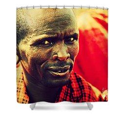 Maasai Man Portrait In Tanzania Shower Curtain by Michal Bednarek