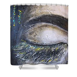 Shower Curtain featuring the painting 5 More Minutes by Lucy Matta