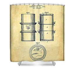 Oil Drum Patent Drawing From 1905 Shower Curtain