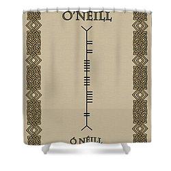 Shower Curtain featuring the digital art O'neill Written In Ogham by Ireland Calling