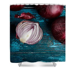 Red Onions Shower Curtain by Nailia Schwarz