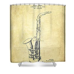 Saxophone Patent Drawing From 1937 - Vintage Shower Curtain by Aged Pixel